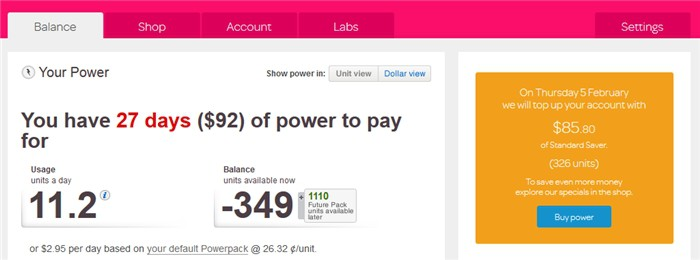 Powershop notice dashboard