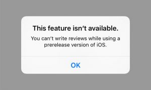 Apple now prevent app reviews if you are running iOS Beta