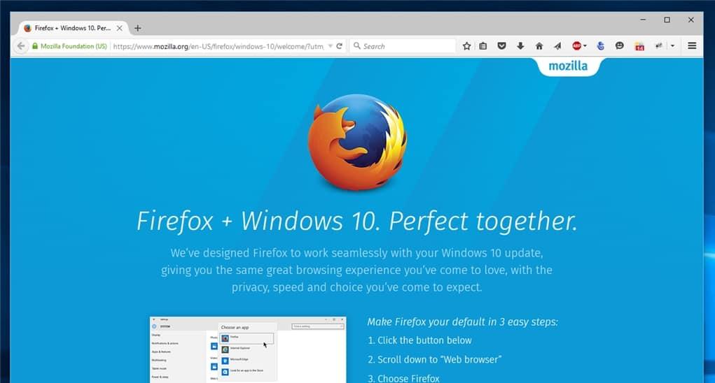 Mozilla Firefox Windows 10