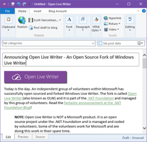 Microsoft Windows Live Writer goes open source