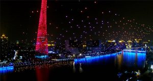 EHang 1000 drone world record - Meteor Sky formation with Canton Tower and Pearl River