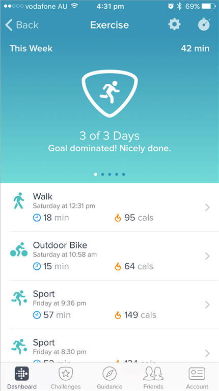 Fitbit Flex 2 Review activity types