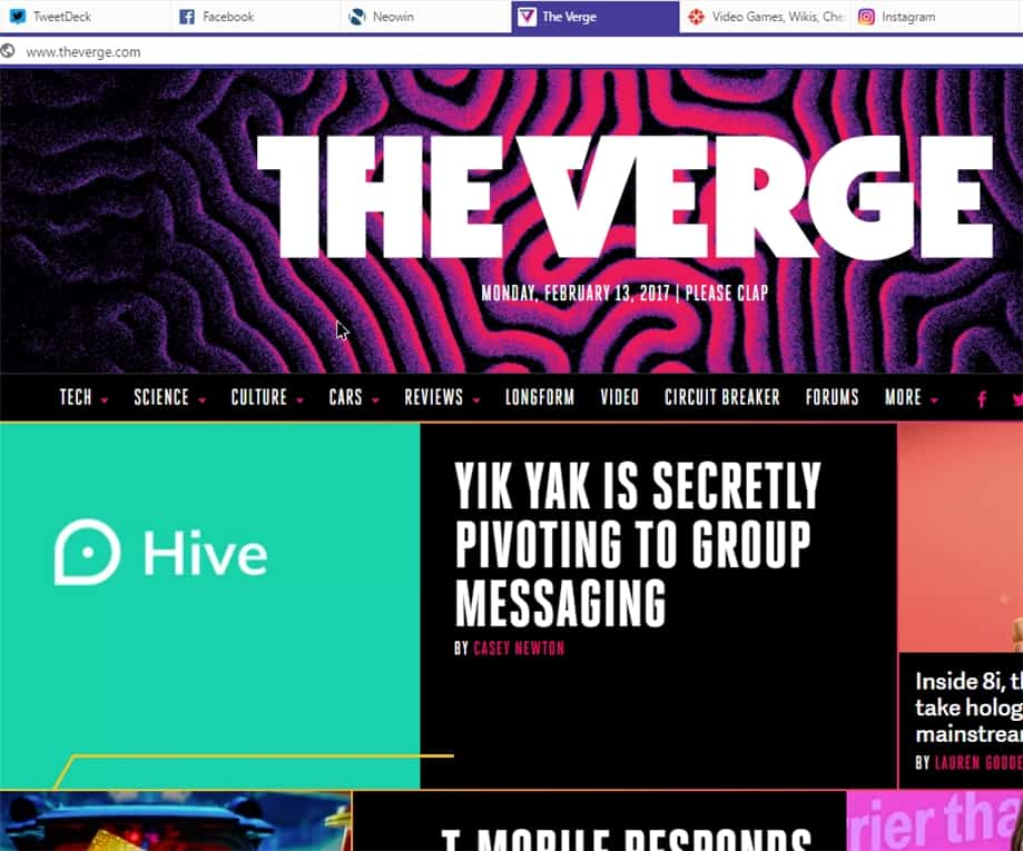 The Verge on Vivaldi