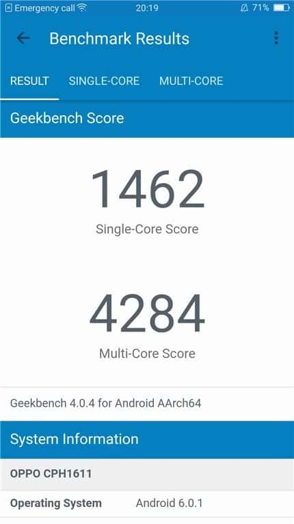 Geekbench OPPO R9s Plus benchmark