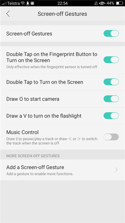screen off gestures