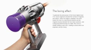 "Dyson V10 makes a funny, soft ""boink"" / ""boing"" sound each time it's turned off"