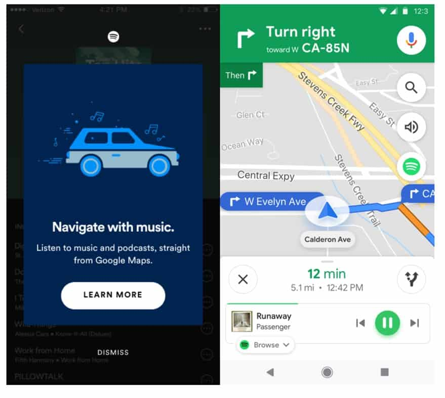 Spotify interface in Google Map