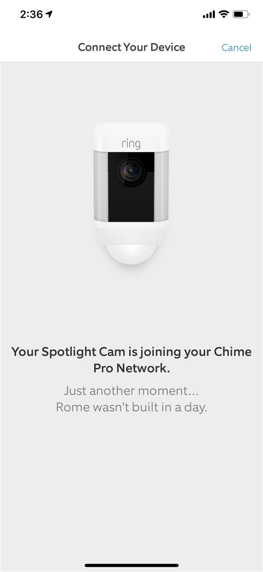 Ring Spotlight Cam Battery app