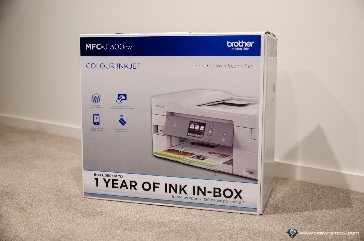 Brother MFC-J1300DW printer packaging