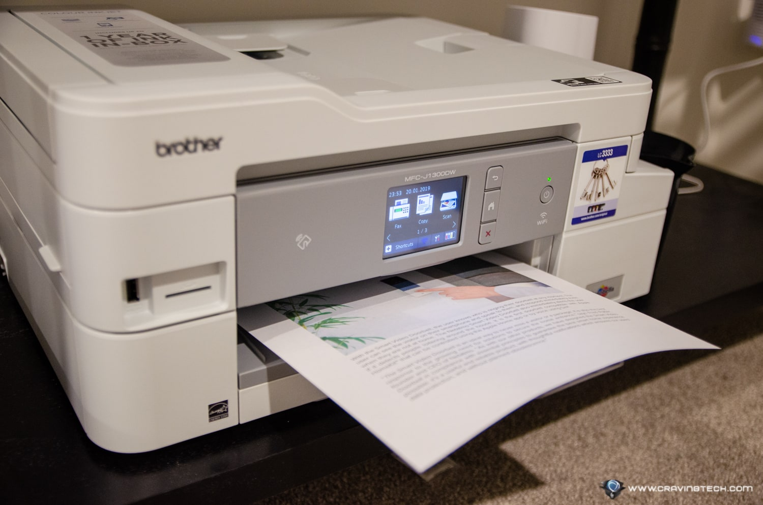 Brother MFC-J1300DW printing