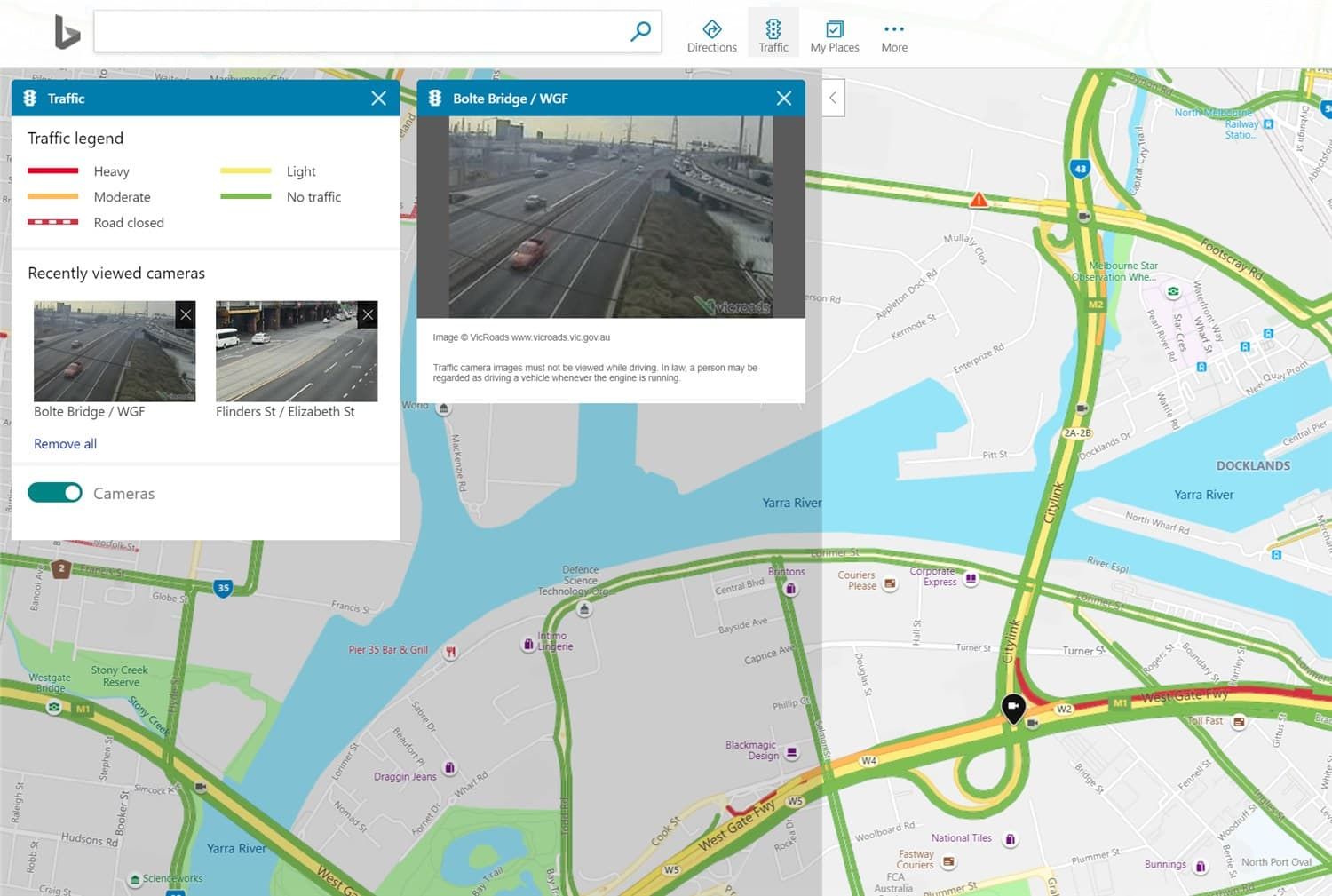 See through Traffic Cameras live with Bing Maps