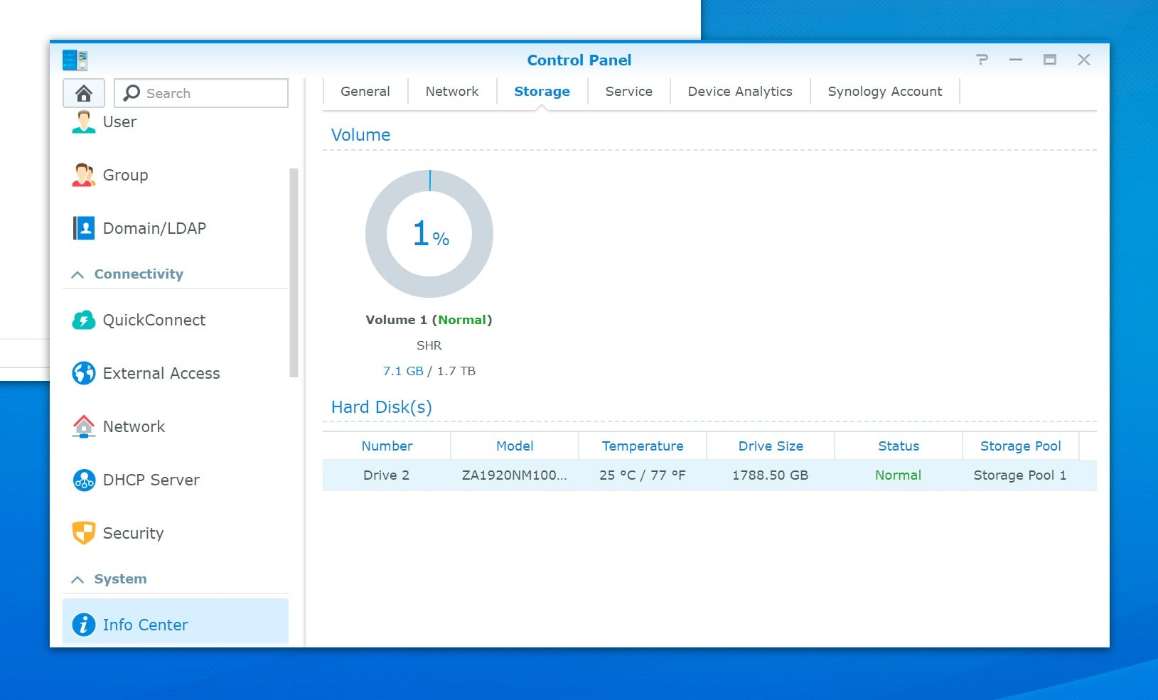 IronWolf in Synology Control Panel