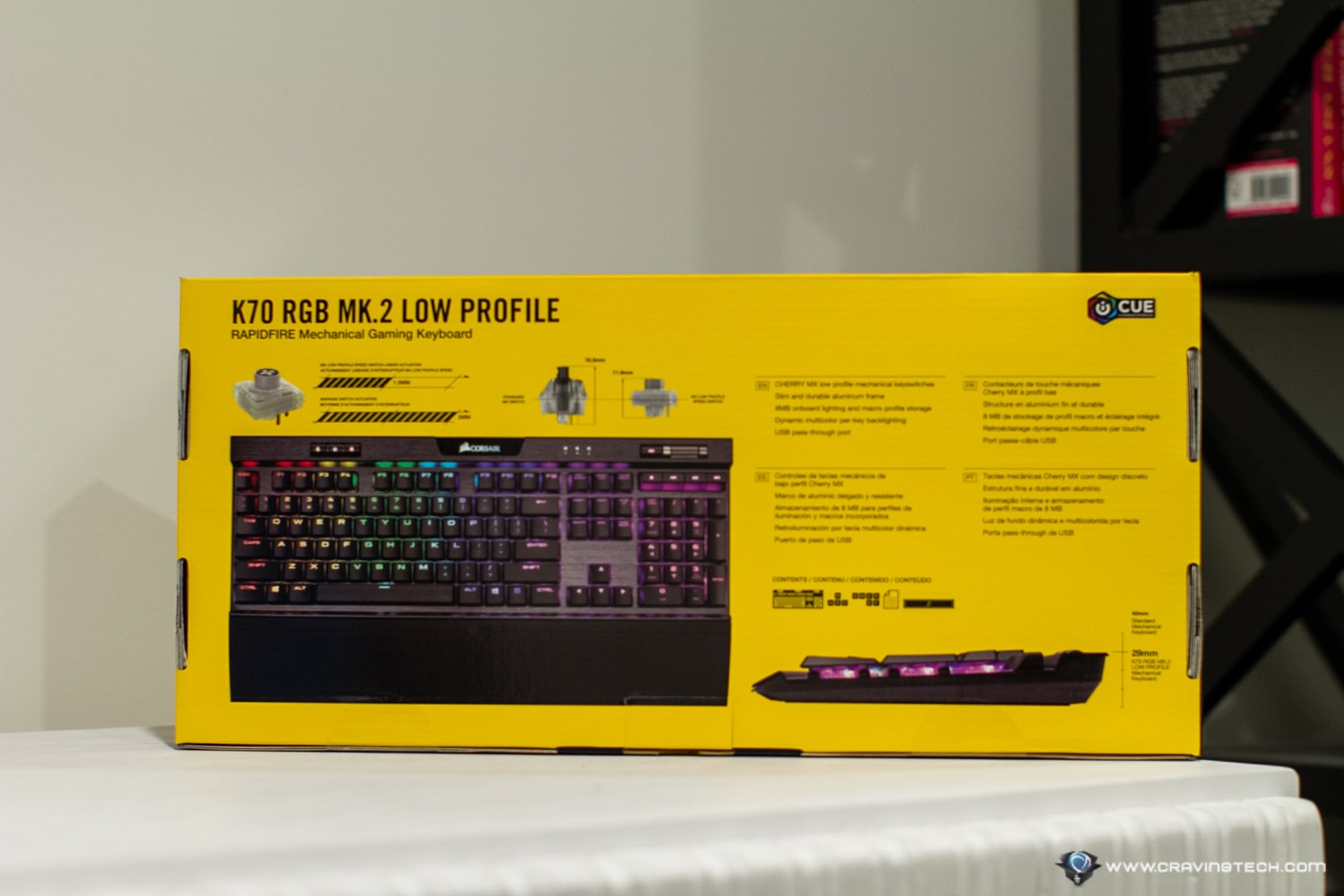 Corsair K70 RGB Mk2 Low Profile Gaming Keyboard Packaging