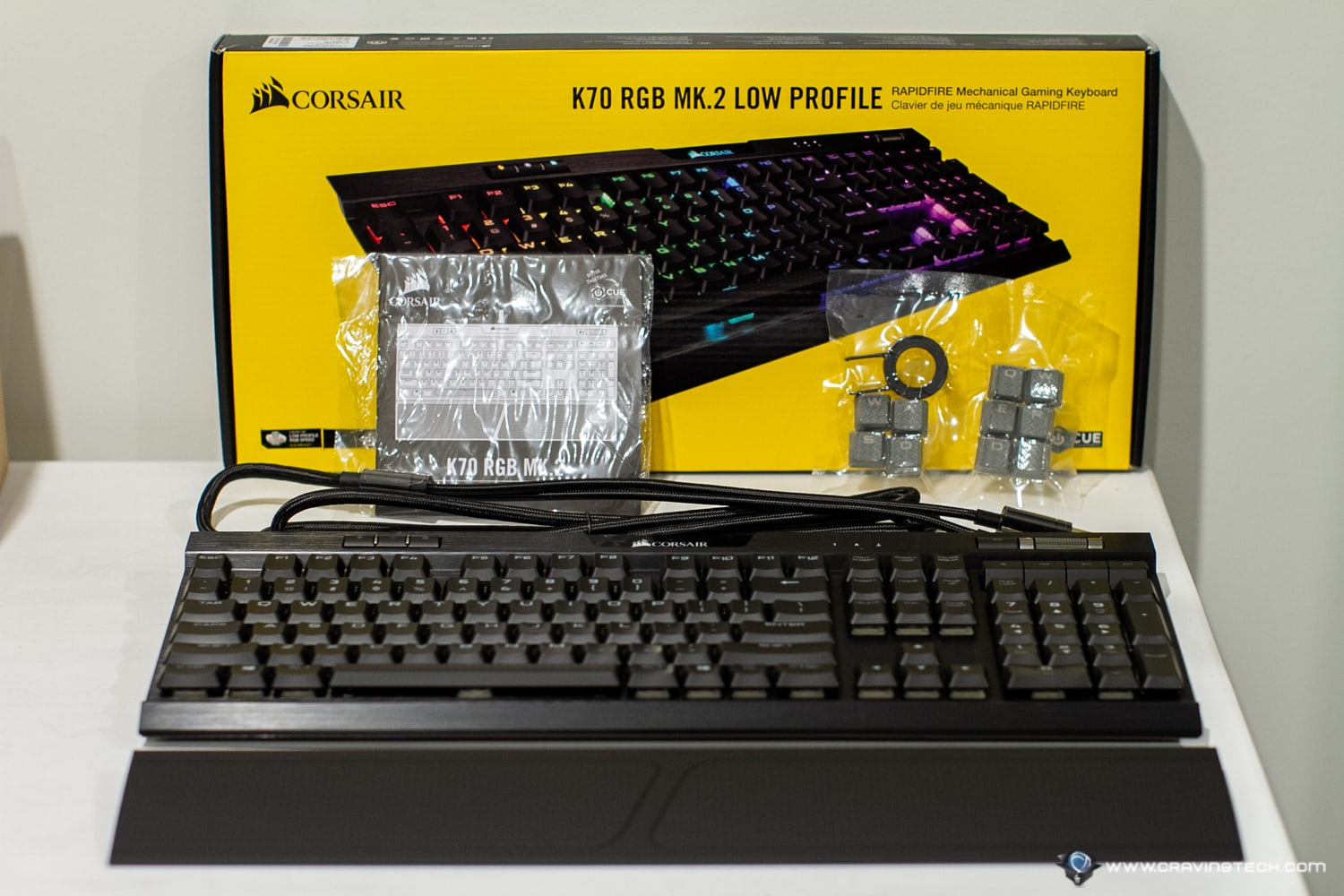 Corsair K70 RGB Mk2 Low Profile Gaming Keyboard Packaging Contents