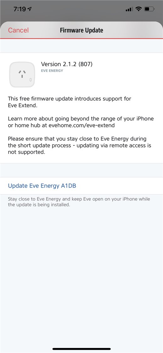 Eve Energy firmware update