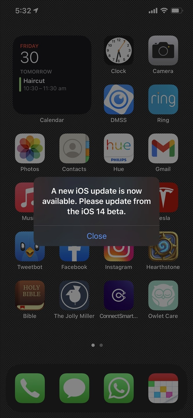 """A new iOS update is now available. Please update from the iOS 14 Beta"" annoying pop-up error message"