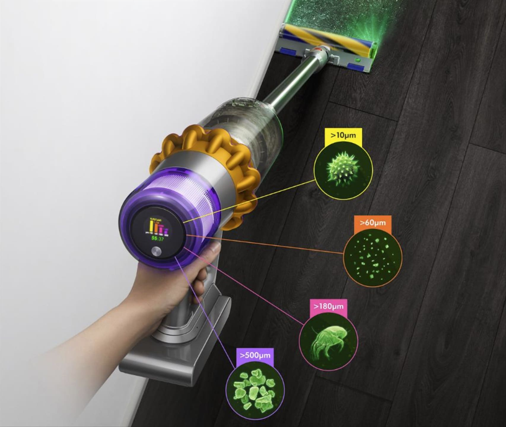 Dyson's next generation of cordless vacuum cleaner can detect, count, and tell the particles it's sucking